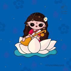 Sweet Drawings, Cool Art Drawings, Easy Drawings, Saraswati Painting, Krishna Painting, Saraswati Goddess, Goddess Art, Certificate Images, Easy Art For Kids
