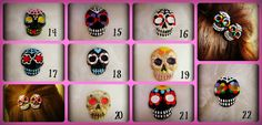 Hand Made Hand Painted on 2 French Barrette Polymer Clay  Pick any TWO skulls 1-22  You will receive a confirmation email with the numbers you choose.  Make sure to let me know what TWO you want! Same or different! Click ZOOM to see them better  Spooky Cute Hair All Year Round!  ht...