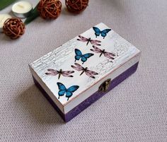 Purple Decorative Wooden Box, Vintage Style Decoupage Jewelry Small Box, Unique Gift For Mother, Blue Butterfly Box Decorative Wooden Boxes, Wooden Tea Box, Painted Wooden Boxes, Cigar Box Crafts, Wooden Box Crafts, Decoupage Box, Decoupage Tutorial, Pin On, Altered Boxes