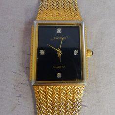 Men's Xavier Masterpiece Quartz 4 Diamonds Watch Gold Tone Band Onyx Crown Runs #Xavier #Casual