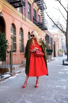 Olive & red. I love this color combination!