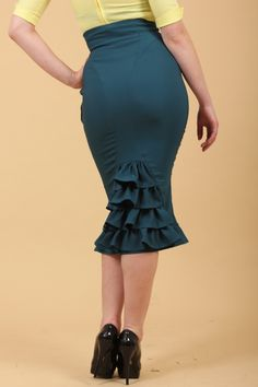 The Blue Green Fallon Pencil Skirt by Miss Candyfloss - Skirts & Petticoats - Clothing