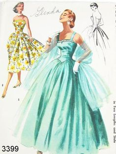 Strapless Bombshell Cocktail Party Dress Pattern McCalls 3399 Dreamy Full Length Evening Formal Gown and Stole Pattern Strapless or Straps Version Glamorous Fifties Fashion - Authentic vintage sewing patterns: This is a fabulous original dress Plus Size Holiday Dresses, Plus Size Vintage Dresses, Vintage Dress Patterns, Dress Vintage, Moda Retro, Moda Vintage, Fifties Fashion, Vintage Fashion, Mode Hollywood