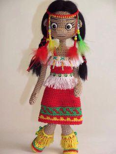Crochet red indian doll / Купить Кукла вязаная интерьерная - кукла вязаная, кукла в подарок, кукла интерьерная, кукла индеец