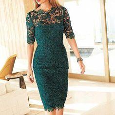 Green Evening Dress, Mermaid Evening Dress, Half Sleeve Evening Dress, Lace Evening Dress,PD1411121 on Luulla