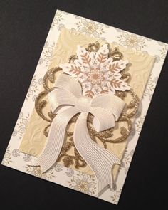 Christmas Card with Soft Gold Shimmer and Anna Griffin Papers