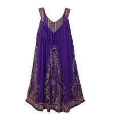 Gorgeous Bohemian Chic Gold Foil Print Shift Dress Purple [WRAP01165]... ❤ liked on Polyvore