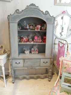 antique shabby chic china cabinet blue distressed