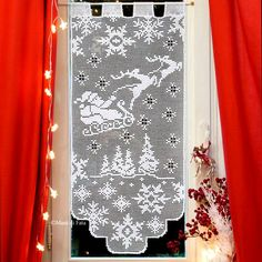 Три схемы вязания новогодней (зимней) темы: занавеска и две салфетки
