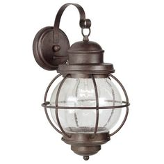 Hatteras - 1 Light Large Nautical Outdoor Lighting Wall Lamp Fixture - Gilded Copper Bronze - Clear Seeded Glass - B1171 | (BlueMarbleLighting.com)
