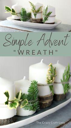Advent Wreath Candles, Christmas Advent Wreath, Christmas Candles, Green Christmas, Diy Candles, White Candles, Christmas Decorations, Diy Advent Wreath, Handmade Decorations