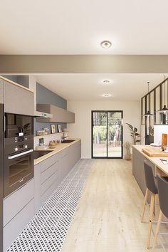 Projet 3D réalisé par Marion. Une pièce de vie style design et contemporain. #cuisine #design #tendance #déco #modern #contemporain