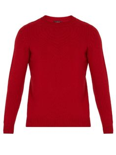 Milord Wool And Cashmere-blend Sweater In Red Joey Tribbiani, Apc, Cashmere, Men Sweater, Crew Neck, Slim, Mens Fashion, Pullover, Wool