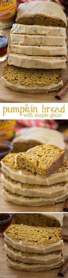 This Pumpkin Bread w This Pumpkin Bread with Maple Glaze is. This Pumpkin Bread w This Pumpkin Bread with Maple Glaze is soft This Pumpkin Bread w This Pumpkin Bread with Maple Glaze is soft and moist and the perfect pumpkin bread recipe! Fall Desserts, Just Desserts, Delicious Desserts, Dessert Recipes, Yummy Food, Pumpkin Recipes, Fall Recipes, Sweet Recipes, Holiday Recipes