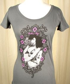 781fe0fb61b603 Bettie Page Ornate Cameo shirt Sourpuss Clothing