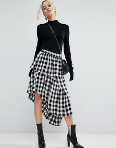 SHOP / ASOS SKIRT If i wear a midi skirt, it's gotta be good and this ASOS asymmetric, layered gingham skirt definitely makes the cut. I love the peplum frill and swishy skirt!