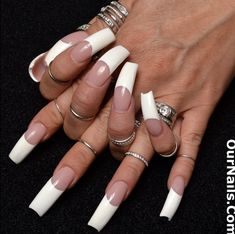 A new set of nails that I had put on early last year, all polished in a French Manicure! It's not often that I get a new set of nails put… Long French Nails, Long Red Nails, Curved Nails, Cheap Perfume, Nail Ring, Sexy Nails, Box Braids Hairstyles, Artificial Nails, Perfect Nails
