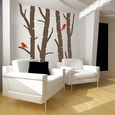 """Beautiful Birch Trees With Birds Wall Decal HB15 Birch Trees Wall Decal- by Decor Designs Decals 86"""" WIDE X 96"""" HIGH Available in the colors of your choice!! We now have 21 MATTE FINISH COLORS to choo"""