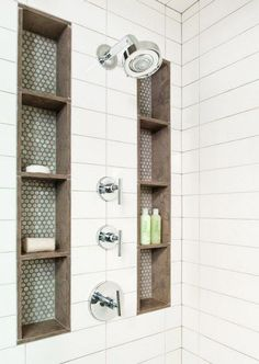 I love this set in shower storage idea! So the stuff stays where I put it and I don't need things cluttering up the edges or have a rack hanging down from the head! I want this in my future master bath!! #remodelingabathroom