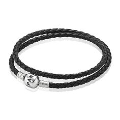 Pandora Double Woven Black Leather and Silver Starter Bracelet 590705CBK-D at John Greed Jewellery