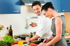 Couple cooking together in kitchen. Young couple - man and woman - cooking in th , Living Together Before Marriage, Extreme Couponing Tips, Couple Cooking, 7 Day Meal Plan, Think Food, Cooking Together, Weight Loss Challenge, Marriage Advice, Failing Marriage