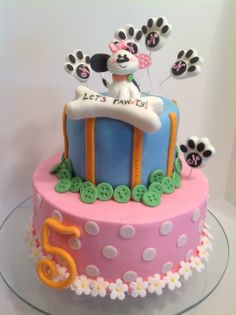 Playful Puppy cake made for a little girl using the napkins as the design inspiriation.
