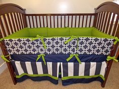 Navy and green crib bedding