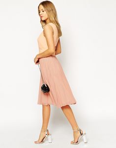asos petite sheer solid pleated midi dress from asoscom http