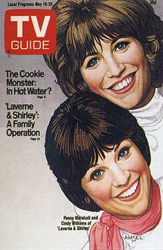 ❥ His TV Guide Cover #15: Cindy Williams and Penny Marshall, May 19, 1979, illustrated by Richard Amsel