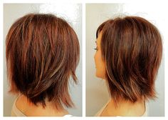 Before  After ~ Mocha Brown with Copper and Peek-a-Boo Almond Highlights for dimension~ Bobbed at the Collar with Choppy Layers that add Movement!!