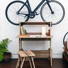 This is a very clever solution for your space and your ideas. Desk is designed to incorporate your bike into your workspace and hold it firmly. It's easy and a lot of fun to assemble. Dimensions: 92 x 58 x 112 cm