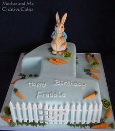 Baby First Easter Ideas Peter Rabbit Party 30 Ideas Peter Rabbit Cake, Peter Rabbit Birthday, Peter Rabbit Party, Bunny Birthday Cake, Boys First Birthday Cake, Boy Birthday Parties, Birthday Ideas, Beatrix Potter Cake, Minnie Mouse