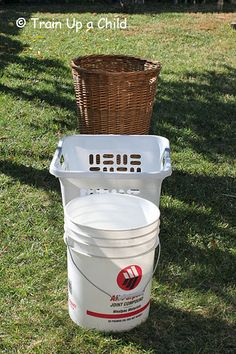 Ball Toss Grab your kids' balls and a basket or two and toss them in!  supplies:  balls, baskets, buckets and/or bins