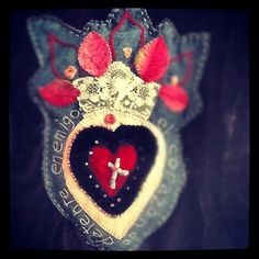 1st love SACRED HEART Mixed Media Fabric Collage and Embroidery...peregrine blue
