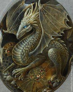 Купить В Пещере Дракона... - разноцветный, лаковая миниатюра, дракон, живопись маслом, живопись на камне