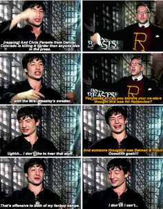 Ezra Miller recognizes interviewer's Ron Weasley Christmas sweater.