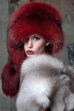 big red fox fur hat