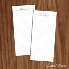 Calligraphy Notepads Note Memo Pads Personalized Gift for Girls Teachers Mom Anniversary Wedding Elegant Fancy Notepad