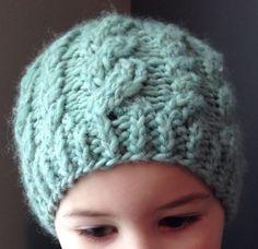 Love it!Handmade Children's Cable Knit Hat in Robin by ShopRainyDayCrafts