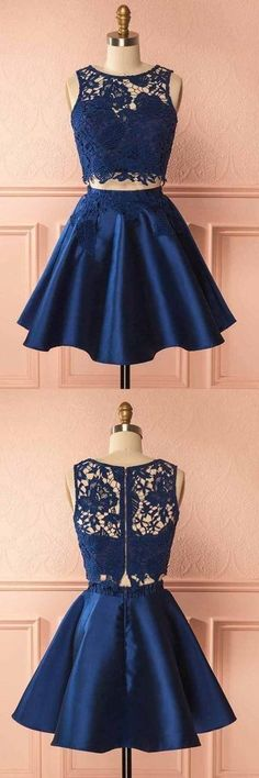 Outlet Easy Prom Dresses Short Two Piece Dark Blue Satin Homecoming Dress With Lace Appliques Dark Blue Prom Dresses, Blue Homecoming Dresses, Prom Dresses 2018, Evening Dresses, Grad Dresses, Women's Dresses, Two Piece Homecoming Dress, Prom Dresses Two Piece, Dresses Short