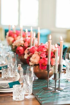 Turquoise, Blush, and Fuchsia Centerpieces with Taper Candles | Ashley Ludaescher Photography | Rose Gold and Peony - Modern Metallic Wedding Shoot in Teal and Copper