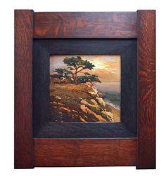 """On The Cifftop"" - Jan Schmuckal Tonalist Impressionist Artist - Original Oil on Board - Arts & Crafts frame by Family Woodworks LLC - Craftsman - Bungalow - Art"