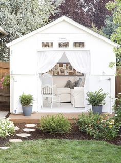 all white glamourous garden shed with draped curtains and comfy white sofa more ways - Garden Sheds Reading