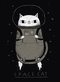 Draw Cats space cat by louros - Long Sleeve T-Shirt Illustration Inspiration, Art Et Illustration, Cat Illustrations, Space Cat, Crazy Cat Lady, Crazy Cats, Desenho Kids, Cat Art Print, Cat Drawing