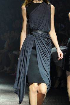 Inspirational way to drape and belt what is essentially a simple look. Lanvin…