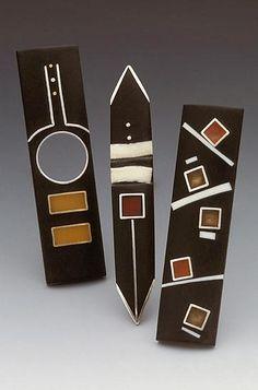 """Bar Pins""  Silver & Resin Pins  Created by Eileen Sutton"