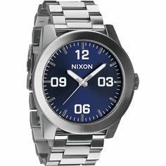 The Blue Sunray Nixon Corporal SS watch has a polished construction for a sleek no nonsense design.