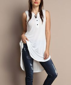 Look what I found on #zulily! White Button-Front Dual Pocket Sleeveless Tunic - Plus #zulilyfinds