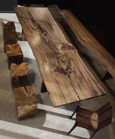 esszimmertisch mit stühlen massivholzmöbel Hudson Furniture