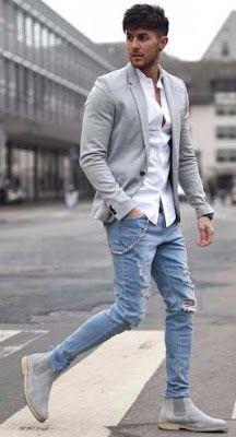 Gri blazer - yırtık jean pantolon kombini
